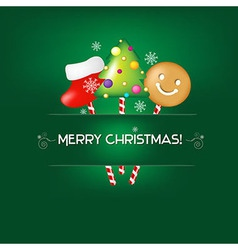 Green Christmas Poster With Candies vector image
