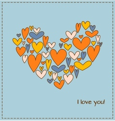 Greeting card with heart composed of a plurality vector image