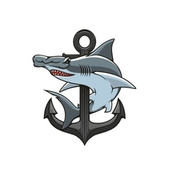 Hammerhead Shark and Anchor heraldic icon vector image