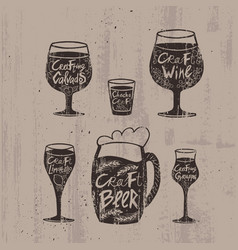Hand drawn craft alcoholic drinks set vector
