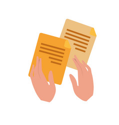 Hands with files isolated icon vector