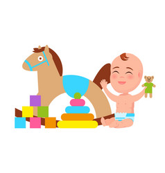 Happy baby play with rocking horse color blocks vector