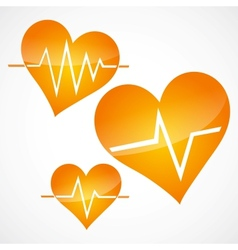 Heart and heartbeat symbols vector