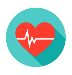 Heart pulse circle icon vector