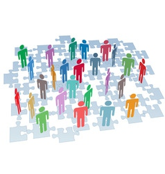 human resources group connection puzzle pieces net vector image