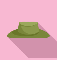 Hunter green hat icon flat style vector