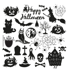 icon set for Halloween on a white background vector image