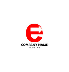 initial letter e with arrow logo template design vector image