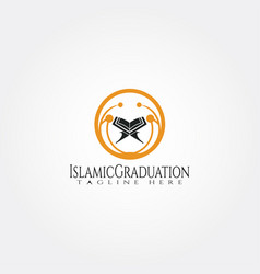 Islamic logo templatepeople and quran icon vector