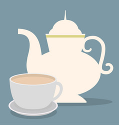 Kettle and cup of coffee shop design vector