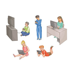 Kids using gadgets technologies front view vector