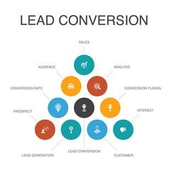 Lead conversion infographic 10 steps conceptsales vector