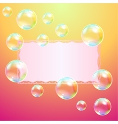 Leaf of paper and soap bubbles vector