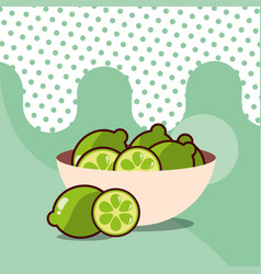 lemons in bowl harvest fruit tasty dotted vector image