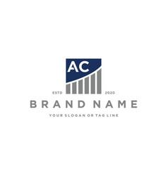 Letter ac chart financial logo design vector
