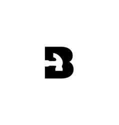 Letter b with hammer logo design concept vector