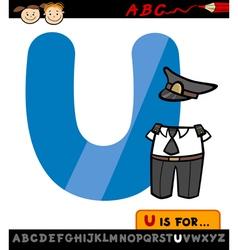 Letter u with uniform cartoon vector
