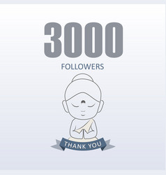 Little monk showing gratitude for 3000 followers vector
