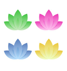 lotus icon set on white background vector image