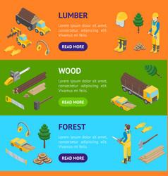 lumberman woodcutter banner horizontal set vector image