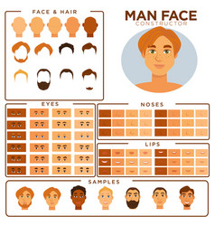 Man face constructor skin haircut nose and eyes vector