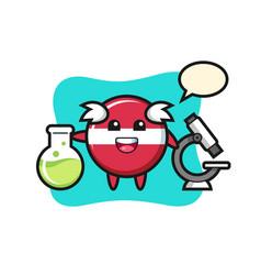 Mascot character latvia flag badge as a vector