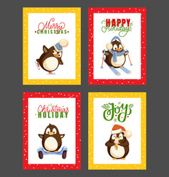 merry christmas happy winter holidays penguins vector image
