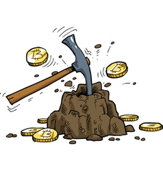 mining bitcoins vector image