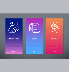 money flow invoice payment vertical cards with vector image