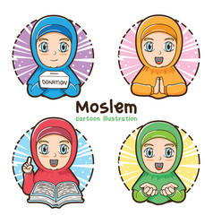 moslem girl set cartoon vector image