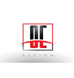 oc o c logo letters with red and black colors and vector image