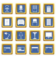 Office furniture icons set blue vector