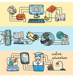 Online education icon sketch banner vector