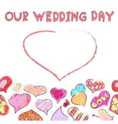 Our wedding day - greeting card vector