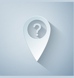 Paper cut map pointer with question symbol icon vector