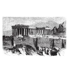Parthenon is temple greek goddess athena vector
