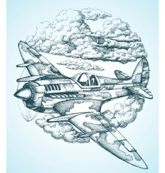 plane in sky round icon vector image