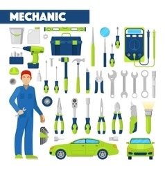 Profession Auto Mechanic Icons Set with Tools vector