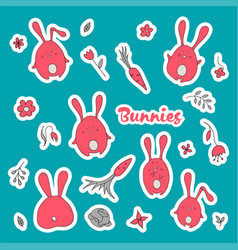 rabbits stickers collection in cartoon vector image