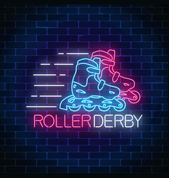 roller derby glowing neon sign on dark brick wall vector image