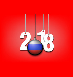 Russian flag and 2018 hanging on strings vector