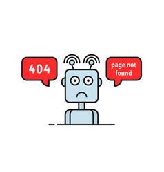 Sad robot like funny 404 error vector
