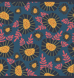 scandinavian retro flower background vector image
