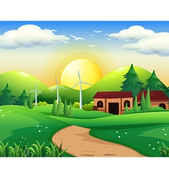 Scene with house and windmills vector image