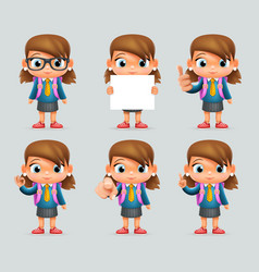 schoolgirl education excellent student genius vector image