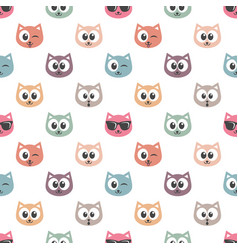 Seamless pattern with cat faces vector