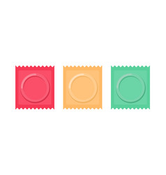 Set color condom packed isolated contraceptive on vector