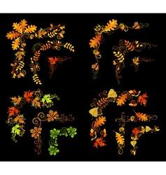Set of autumn leaves design elements vector