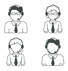 Set of call center linear avatar icons vector image