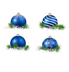 Set of realistic blue christmas balls vector image